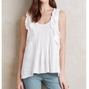 [Anthropologie] pleated ruffle tank top